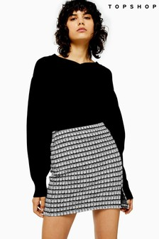 Topshop Check Split Mini Skirt