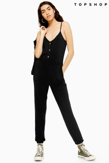 Topshop Super Soft Button Jumpsuit