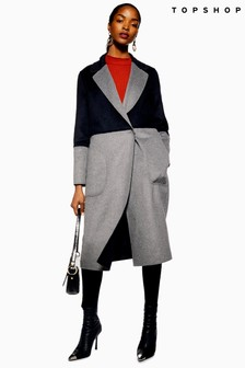 Topshop Reversible Colourblock Coat