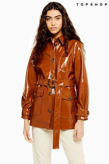 Topshop Chicago Brown Belted Vinyl Coat