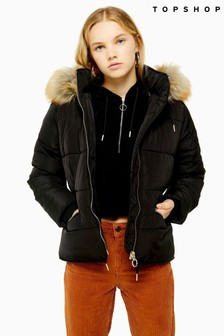 Topshop Detachable Faux Fur Hooded Padded Jacket