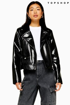 Topshop Crocodile PU Jacket