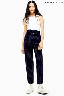 Topshop Pinstripe Tapered Trousers
