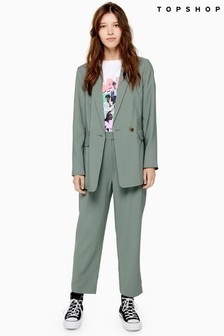 Topshop Button Straight Cigarette Trousers