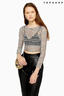 Topshop Daisy 3/4 Sleeve Crew Neck Top