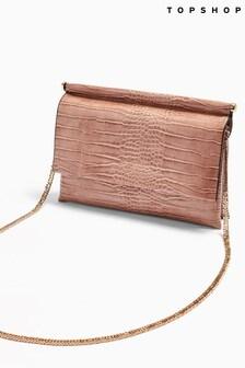 Topshop Clara Crocodile Clutch Bag