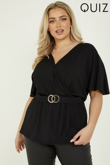 Quiz Curve Ribbed Buckle Detail Wrap Top