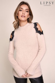 Lipsy Eyelash Lace Cold Shoulder Jumper