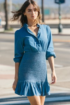 Lipsy Shirred Shirt Mini Dress
