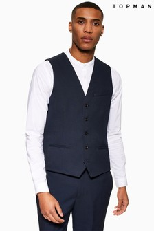 Topman Skinny Fit Textured Suit Waistcoat