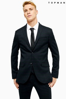 Topman Check Super Skinny Fit Suit Blazer With Notch Lapels