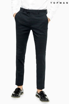 Topman Check Super Skinny Suit Trousers