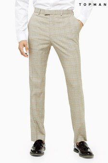 Topman Check Slim Fit Trousers