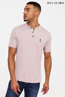Religion Grandad Collar Polo Shirt