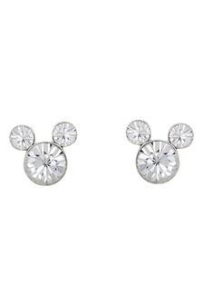 Disney Mickey Silver Plated Brass Birthstone Earrings