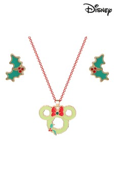 Disney Minnie Mouse Christmas Pendant  Earring Set