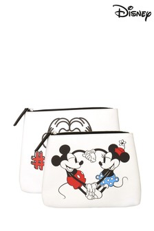 Disney Mickey And Minnie Mouse 'Love You!' 2 Piece Pouch Set