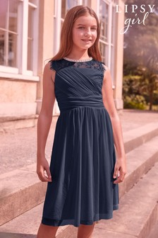 Lipsy Girl Embellished Lace Pleated Occasion Dress