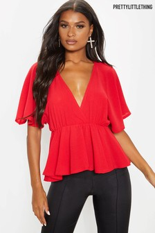 PrettyLittleThing Peplum Angel Sleeve Top