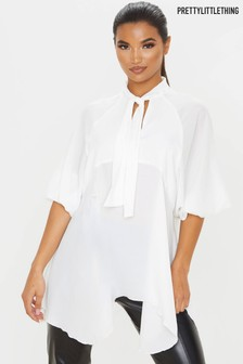 PrettyLittleThing Pussy Bow Tunic Top