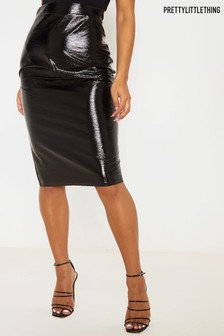 PrettyLittleThing PU Wet Look Leather Skirt