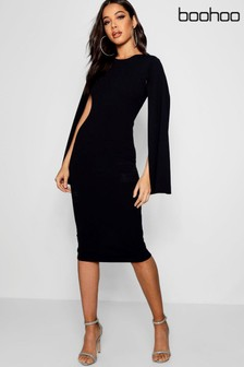 Boohoo Cape Sleeve Midi Dress