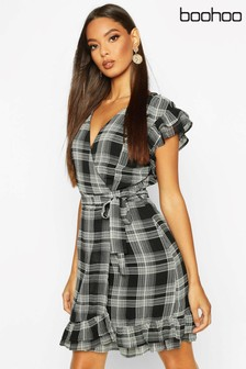 Boohoo Check Frill Sleeve Tie Waist Dress