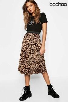 Boohoo Leopard Midi Skirt