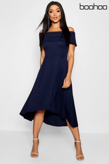 Boohoo Bardot Skater Midi Dress