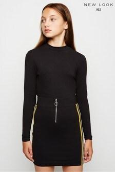 New Look Girls Side Stripe Zip Tube Skirt
