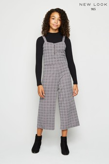 New Look Girls Pink Check Jacquard Ring Zip Jumpsuit