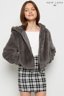 New Look Girls Faux Fur Hooded Bomber Jacket