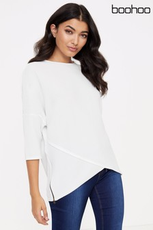 Boohoo Asymmetric Zip T-Shirt