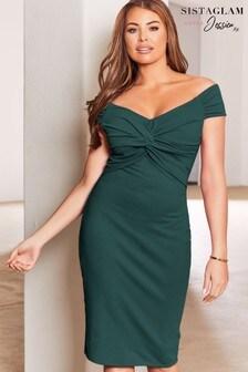 Sistaglam Loves Jessica Knot Front Midi Dress