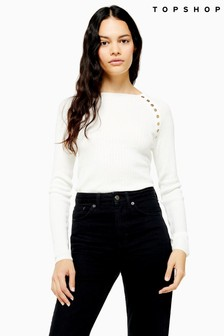 Topshop Button Placket Knitted Top