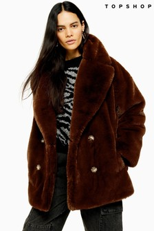 Topshop Soft Faux Fur Double Breasted Coat
