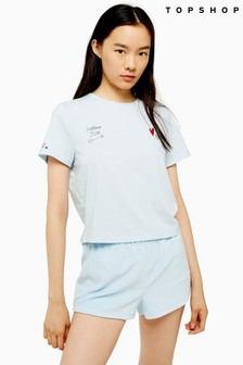 Topshop Embroidered Pillow Talk Slogan Pyjama Set