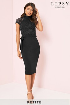 Lipsy Petite Lace High Neck Midi Dress
