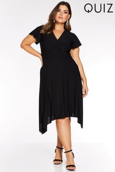 Quiz Curve Wrap Front Cap Sleeve Hanky Hem Dress