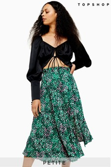 Topshop Petite Painted Spot Pleat Midi Skirt
