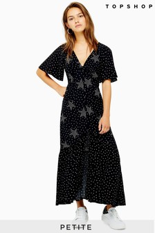 Topshop Petite Button Angel Sleeve Midi Dress
