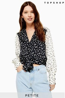 Topshop Petite Mix And Match Tie Front Blouse