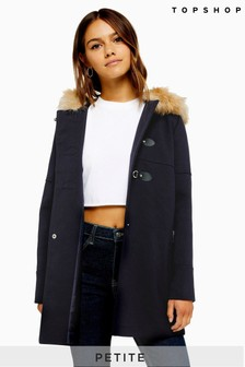 Topshop Petite Faux Fur Hooded Coat