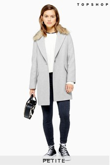 Topshop Petite Monica Fur Collar Jacket