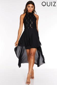 Quiz Embellished Dip Hem Dress