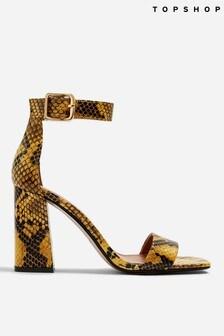 Topshop Suki Snake Block Heels Sandals