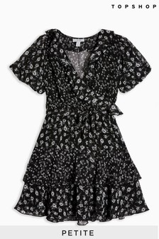 Topshop Petite Ditsy Ruffle Mini Tea Dress