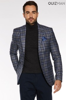 Quizman All Over Grid Pattern Blazer