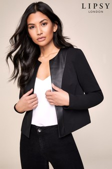 Lipsy Faux Leather Panel Jacket