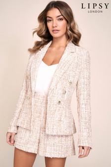 Lipsy Boucle Military Tailored Button Blazer